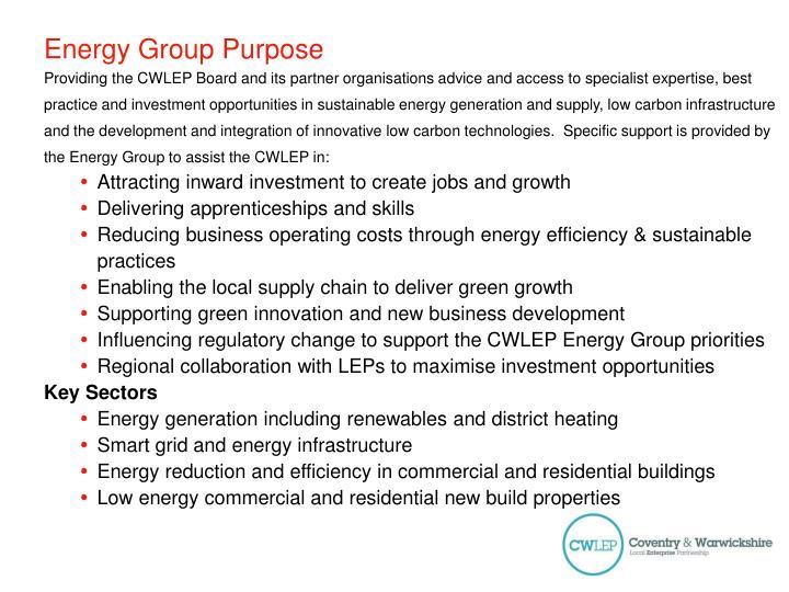 Energy group purpose