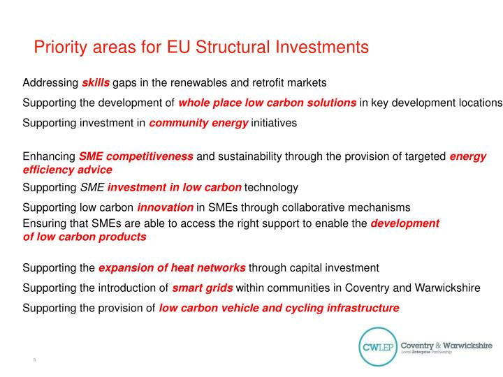 Priority areas for EU Structural Investments