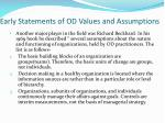 early statements of od values and assumptions1