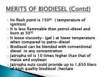 merits of biodiesel contd