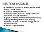 merits of biodiesel