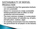 sustainablilty of biofuel production