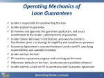 operating mechanics of loan guarantees