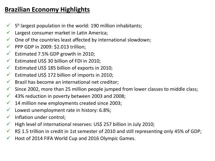 Brazilian economy highlights