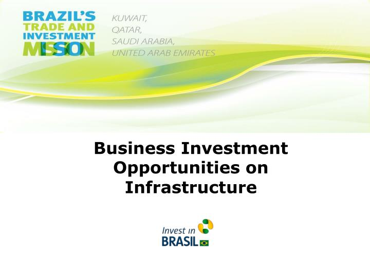 Business Investment Opportunities on