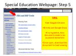 special education webpage step 5