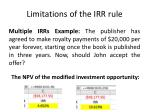 limitations of the irr rule2