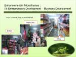 enhancement in microfinance ii entrepreneurs development business development