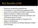 nle benefits of ar