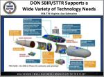 don sbir sttr supports a wide variety of technology needs ssn 774 virginia class submarine