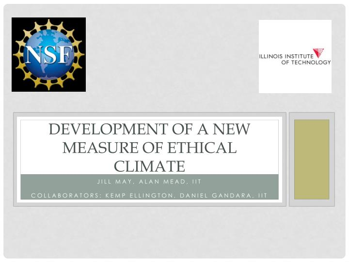 development of a new measure of ethical climate n.