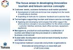 the focus areas in developing innovative tourism and leisure service concepts
