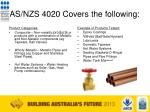 as nzs 4020 covers the following