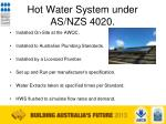 hot water system under as nzs 4020