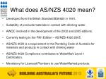 what does as nzs 4020 mean