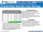 unsubmitted voucher cost savings