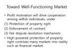 toward well functioning market