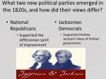 what two new political parties emerged in the 1820s and how did their views differ