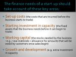 the finance needs of a start up should take account of these key areas