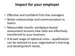 impact for your employer