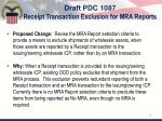 draft pdc 1087 receipt transaction exclusion for mra reports