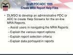 draft pdc adc 1089 create mra report help files