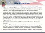 mra exclusions