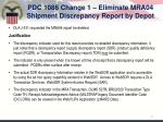pdc 1086 change 1 eliminate mra04 shipment discrepancy report by depot