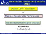 beneficiary and service delivery indicators bsdi