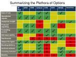 summarizing the plethora of options
