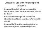 questions use with following food products