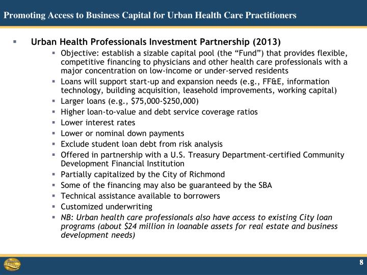 Promoting Access to Business Capital for Urban Health Care Practitioners