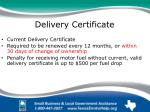 delivery certificate
