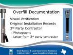 overfill documentation