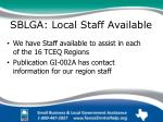 sblga local staff available map of tceq regions