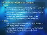 c hild abuse incidents on campus