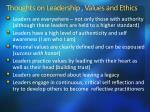 thoughts on leadership values and ethics