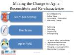 making the change to agile reconstitute and re characterize