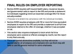 final rules on employer reporting