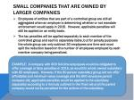 small companies that are owned by larger companies