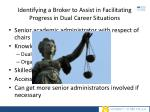 identifying a broker to assist in facilitating progress in dual career situations