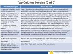 two column exercise 2 of 2