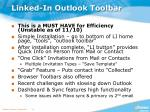linked in outlook toolbar