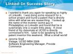 linked in success story