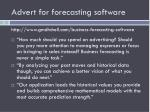advert for forecasting software