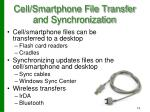 cell smartphone file transfer and synchronization