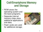cell smartphone memory and storage