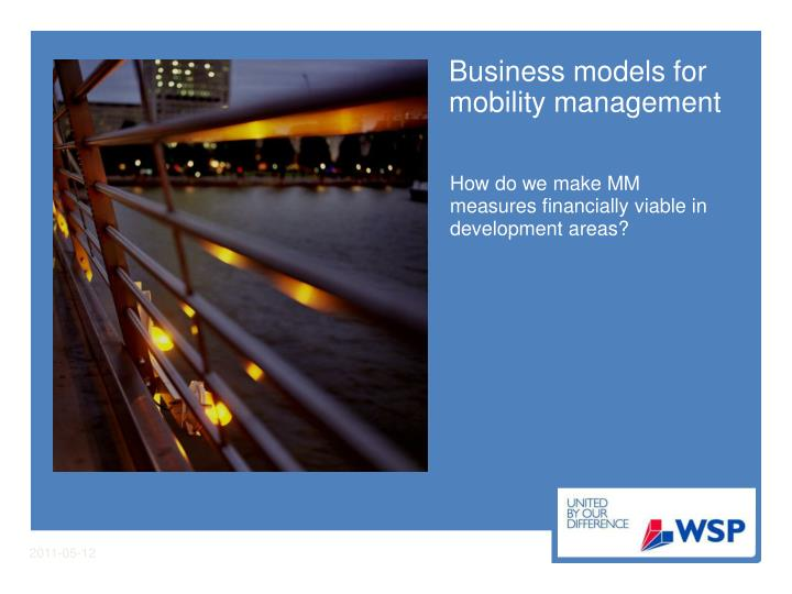business models for mobility management n.