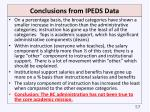 conclusions from ipeds data