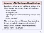 summary of bc ratios and bond ratings